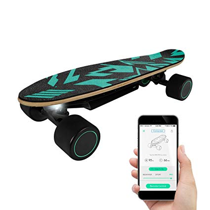 Swagtron Swagboard Spectra Mini Smart AI Body Motion Controlled Electric Skateboard – w/App Remote Controlled Self Drive, 5.6 Mile Per Charge, BackPack Size, Best campus commuting tool